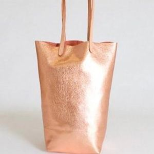 Rose gold 100% leather bag- Basil Racuk